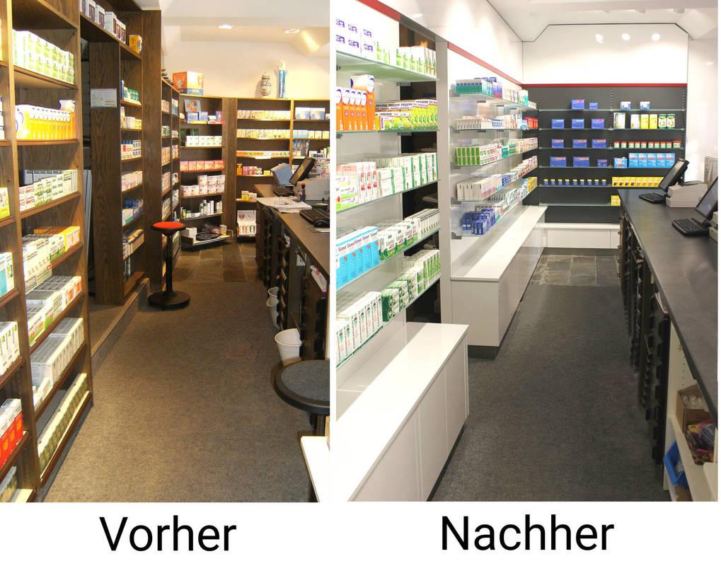 Umbau von Apotheken, Vergleich vorher nachher